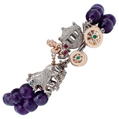 Diamonds, Rubies Emeralds, 9 Karat Rose Gold and Silver Carriage Beaded Bracelet