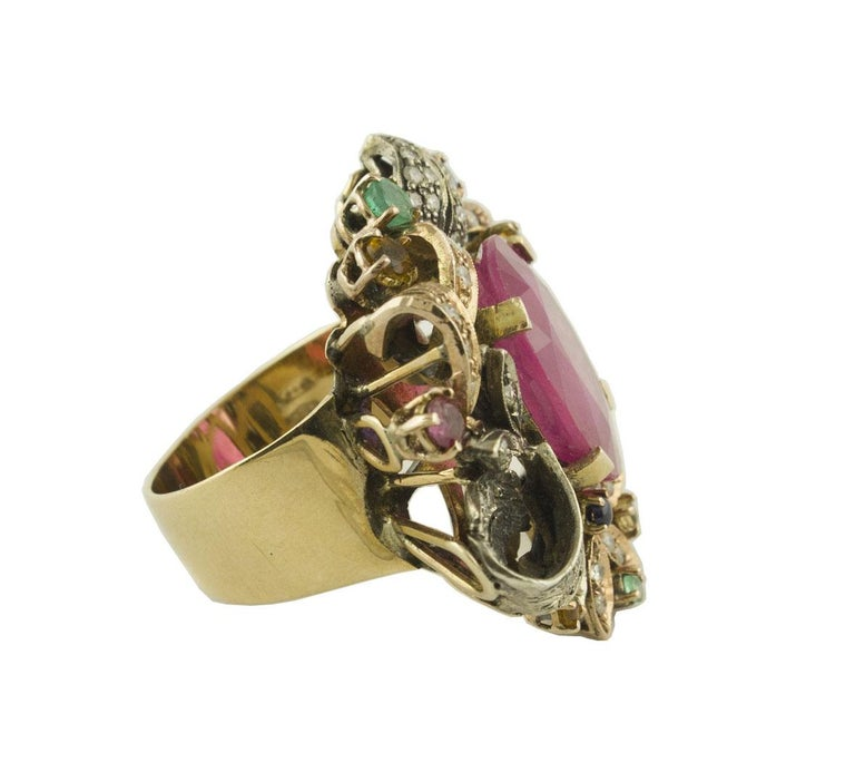 Retro Diamonds Rubies Emeralds Blue and Yellow Sapphires Rose Gold and Silver Ring For Sale