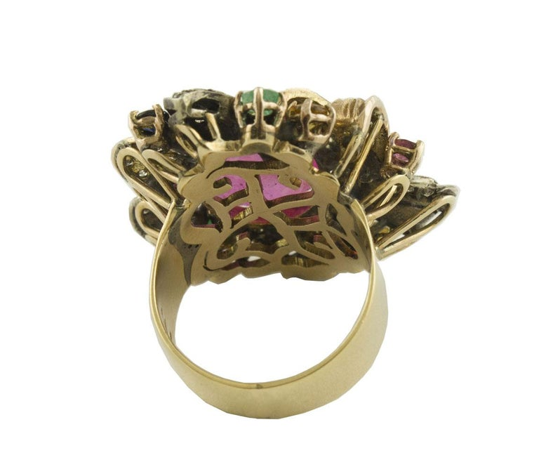 Rose Cut Diamonds Rubies Emeralds Blue and Yellow Sapphires Rose Gold and Silver Ring For Sale