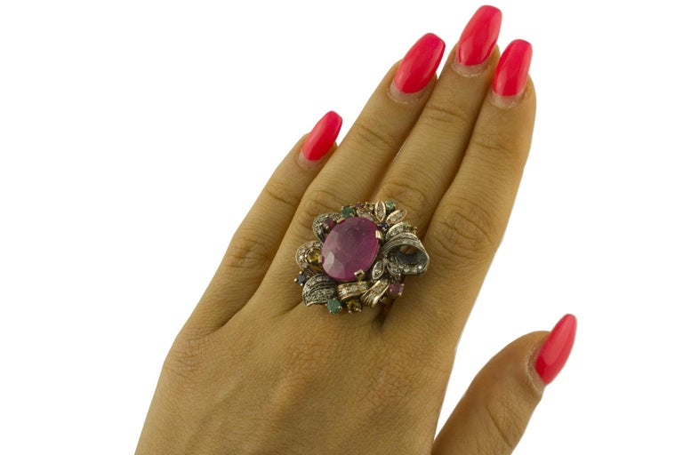 Women's Diamonds Rubies Emeralds Blue and Yellow Sapphires Rose Gold and Silver Ring For Sale