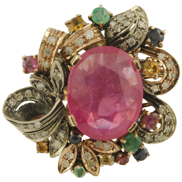 Diamonds Rubies Emeralds Blue and Yellow Sapphires Rose Gold and Silver Ring For Sale
