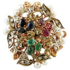Diamonds, Rubies, Emeralds, Blue Sapphires, Pearls, 9K rose Gold and Silver Ring