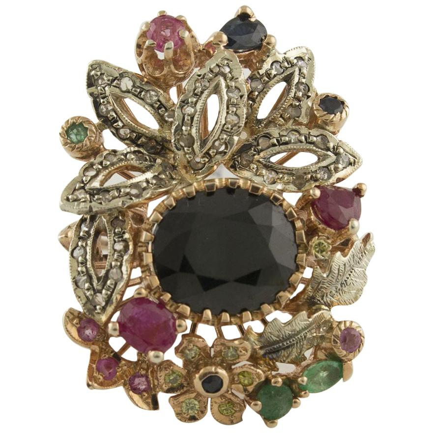 Diamonds Rubies Emeralds Blue Sapphires Rose Gold and Silver Fashion Ring