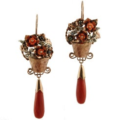 Diamond,Ruby,Emerald,Blue Yellow Sapphires,Red Coral, Rose Gold Silver Earrings