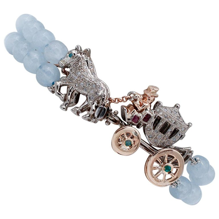 Diamonds Rubies Emeralds Sapphire Aquamarine 9 Gold and Silver Carriage Bracelet For Sale