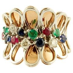 Diamonds, Rubies, Emeralds, Sapphires, 14 Karat Rose Gold, Vintage Fantasy Ring