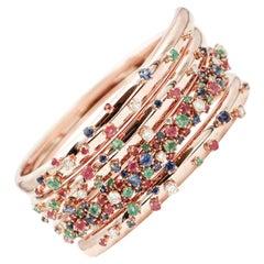 Diamonds, Rubies, Emeralds, Sapphires, 18 Karat Rose Gold Spiral Bangle Bracelet