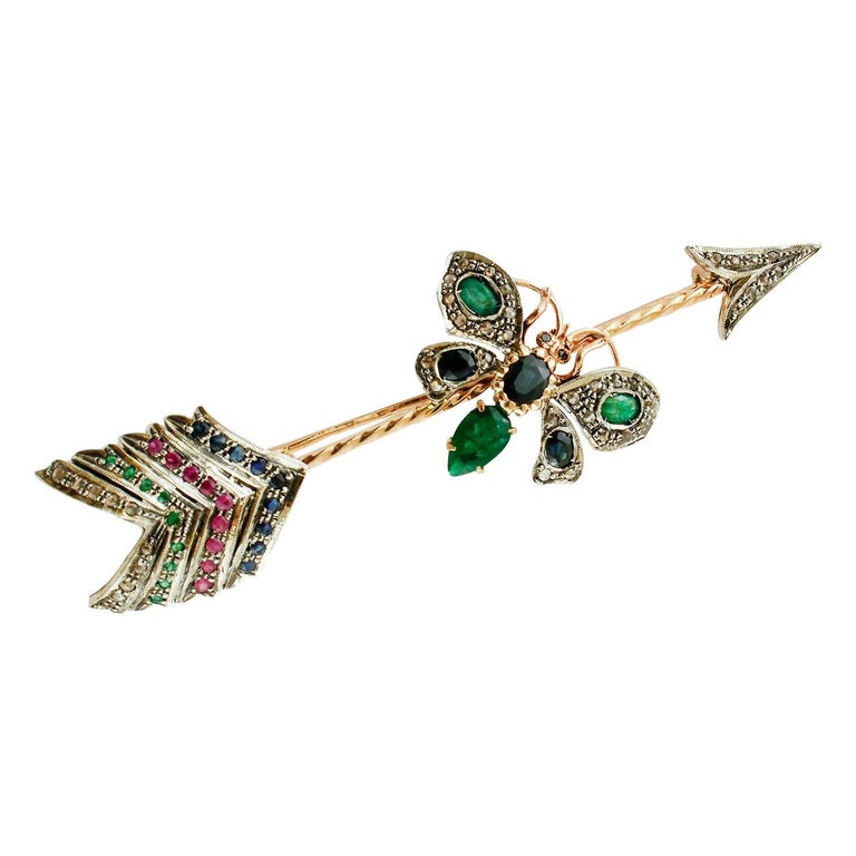 Diamonds, Rubies, Emeralds, Sapphires, 9 Karat Rose Gold and Silver Arrow Brooch For Sale