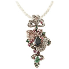 Diamonds, Rubies, Emeralds, Sapphires, 9 Karat Rose Gold and Silver Pendant