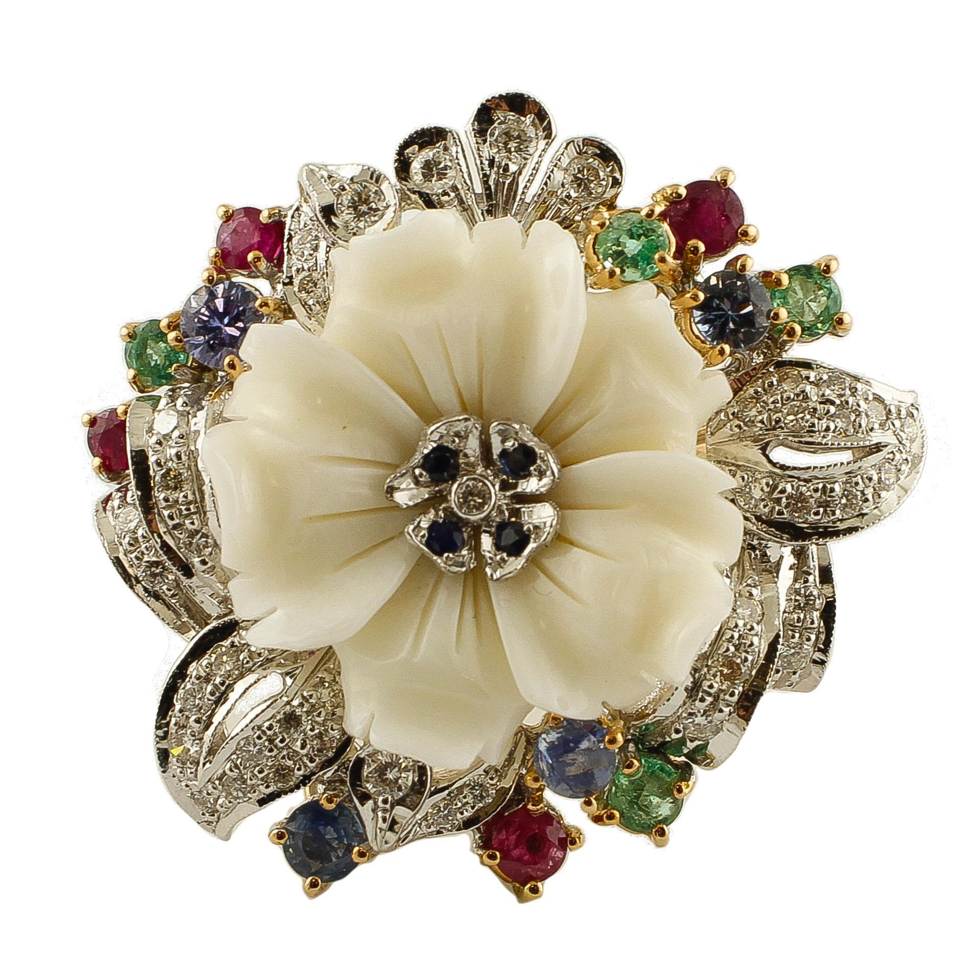 Diamonds,Rubies,Emeralds,Sapphires,White Coral 14 Karat Rose and White Gold Ring