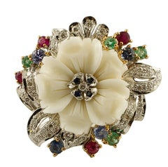 Diamonds,Rubies,Emeralds,Sapphires,White Coral 14 Karat Rose and White Gold Ring