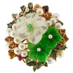Diamonds Rubies Emeralds Sapphires Green Agate Mother-of-Pearl Gold Silver Ring