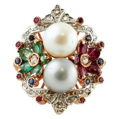 Diamonds, Rubies, Emeralds, Sapphires, Pearls, 9 Karat Rose Gold and Silver Ring