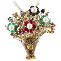 Diamonds, Rubies, Emeralds, Sapphires, Pearls, Flower Basket Brooch or Pendant