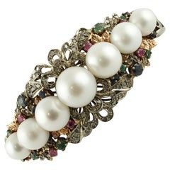 Diamonds Rubies Emeralds Sapphires Pearls Rose Gold and Silver Rigid Bracelet