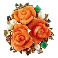 Diamonds,Rubies,Emeralds,Sapphires,Pearls,Orange Stone Flowers Gold/Silver Ring