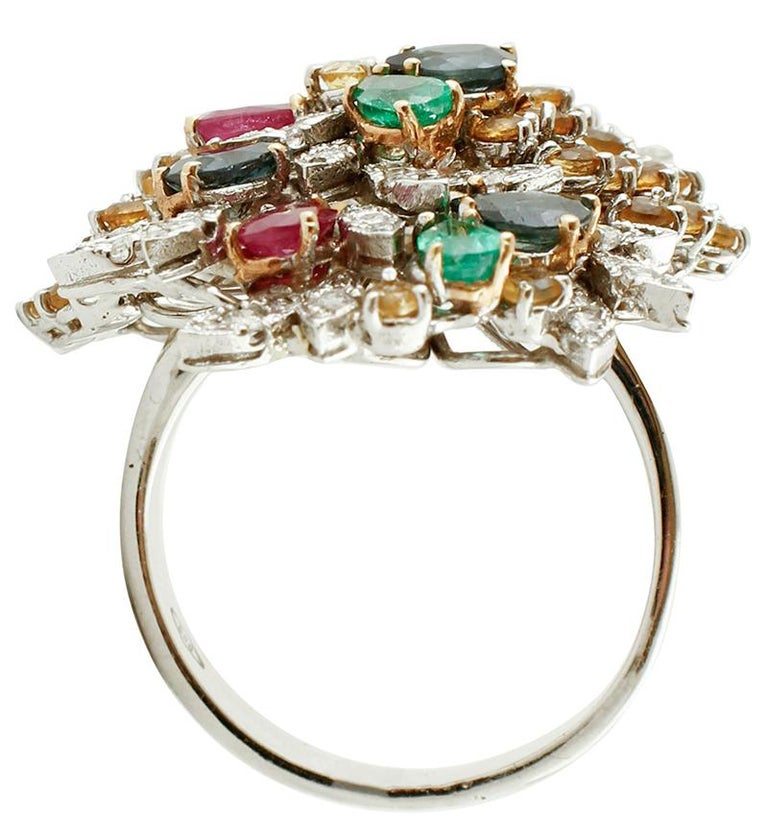 Retro Diamonds, Rubies, Emeralds, Sapphires, White Gold Ring For Sale