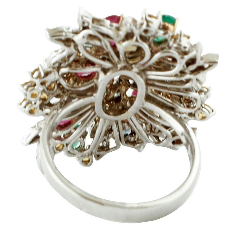 Diamonds, Rubies, Emeralds, Sapphires, White Gold Ring In Good Condition For Sale In Marcianise, Caserta