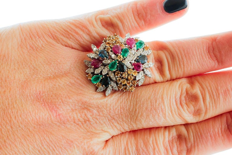 Women's Diamonds, Rubies, Emeralds, Sapphires, White Gold Ring For Sale