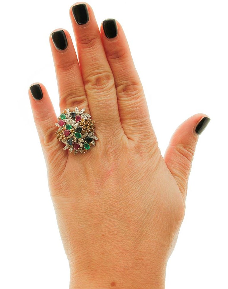 Diamonds, Rubies, Emeralds, Sapphires, White Gold Ring For Sale 1