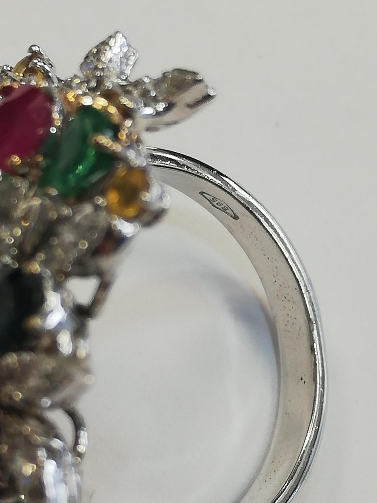 Diamonds, Rubies, Emeralds, Sapphires, White Gold Ring For Sale 2