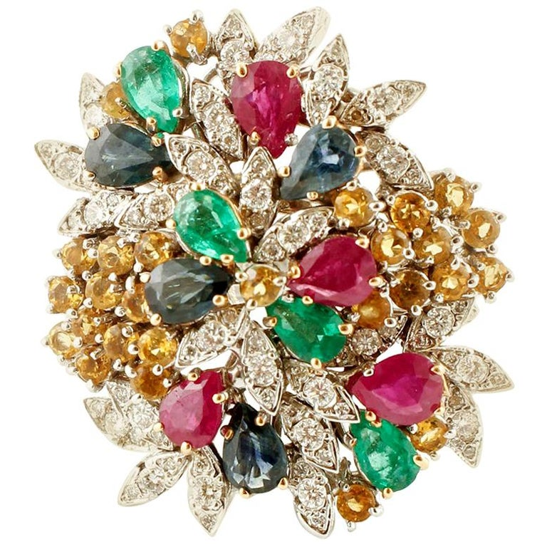 Diamonds, Rubies, Emeralds, Sapphires, White Gold Ring For Sale
