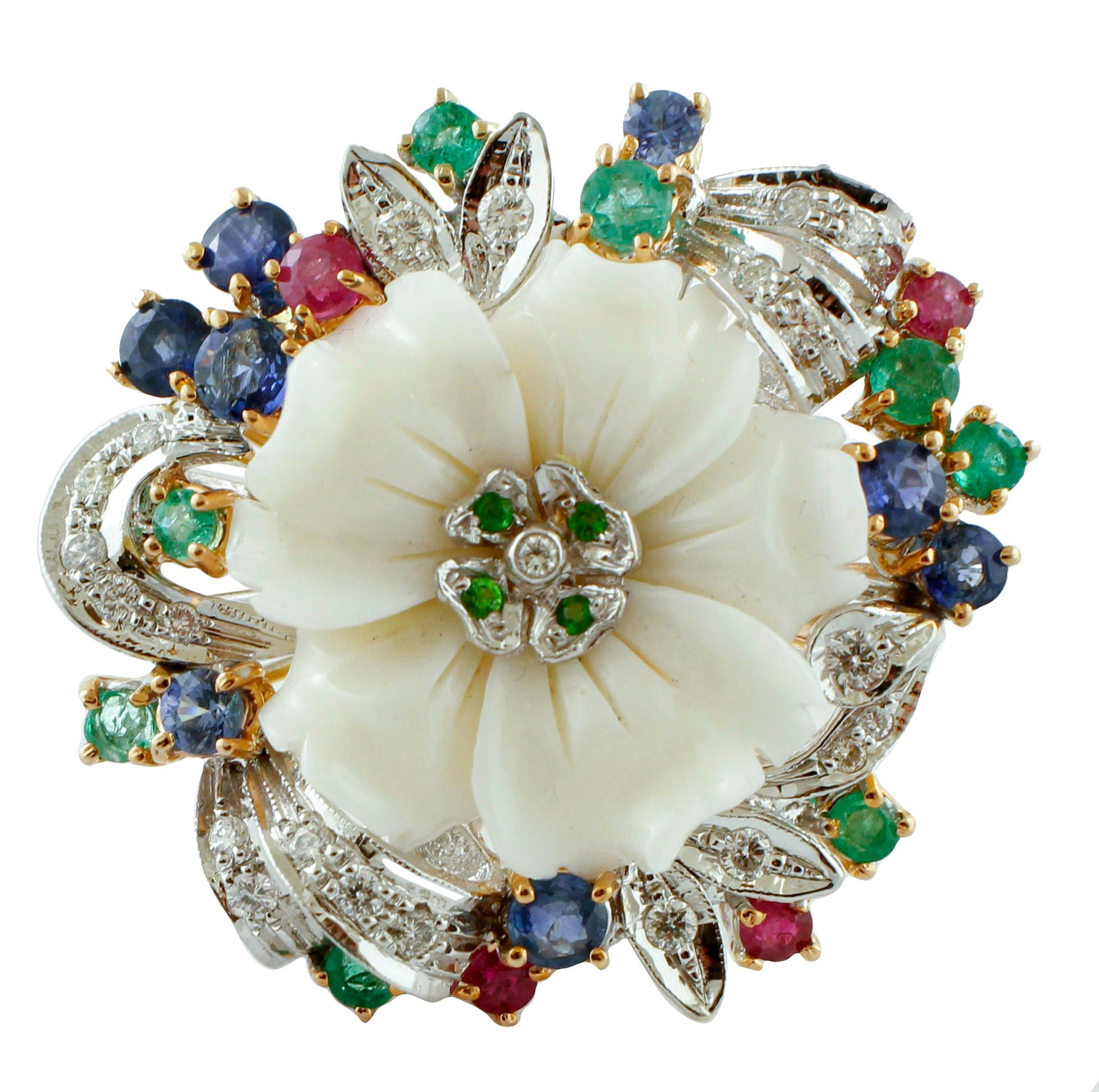 Diamonds, Rubies, Emeralds, Sapphires,Tsavorites,White Coral, 14 Karat Gold Ring