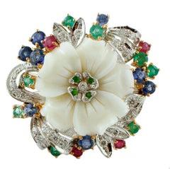 Diamonds, Rubies, Emeralds, Sapphires,Tsavorites,White Coral, 14 Karat Gold Ring