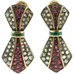 Diamonds Rubies Emeralds Yellow Gold and Silver Earrings