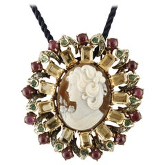 Diamonds Rubies Emeralds Yellow Topaz Cameo Gold Silver Brooch/Pendant Necklace