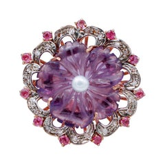 Diamonds, Rubies, Hydrothermal Amethyst, Pearl, 9Kt Rose Gold and Silver Ring