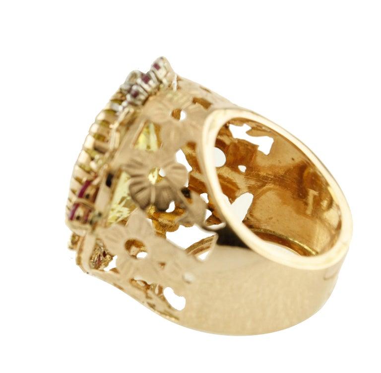 Retro Diamonds Rubies Lemon Citrine Rose Gold Cocktail Ring For Sale