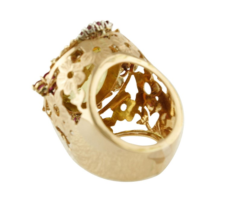 Diamonds Rubies Lemon Citrine Rose Gold Cocktail Ring In Good Condition For Sale In Napoli, IT