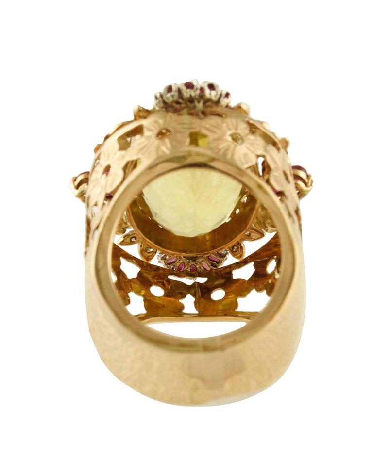 Women's Diamonds Rubies Lemon Citrine Rose Gold Cocktail Ring For Sale