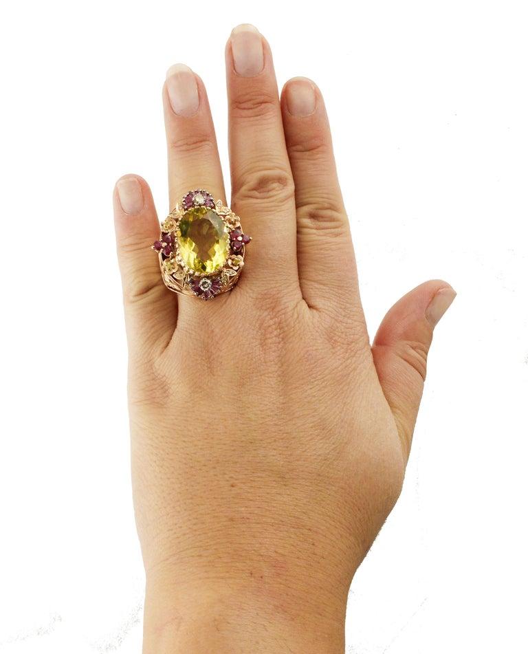 Diamonds Rubies Lemon Citrine Rose Gold Cocktail Ring For Sale 1