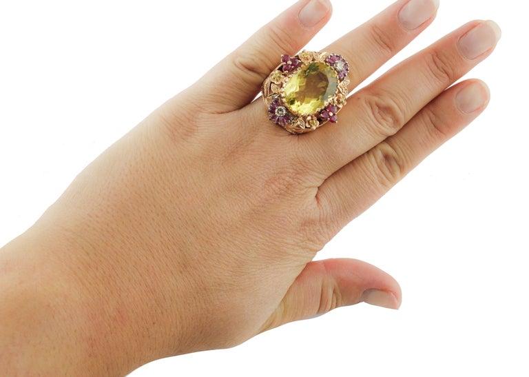 Diamonds Rubies Lemon Citrine Rose Gold Cocktail Ring For Sale 2