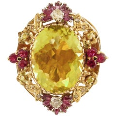Diamonds Rubies Lemon Citrine Rose Gold Cocktail Ring