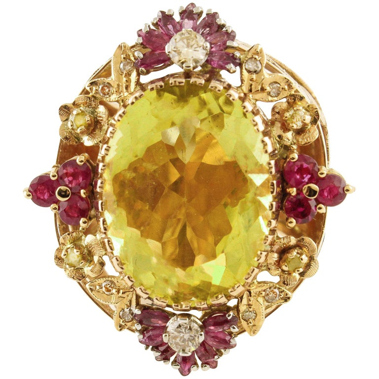 Diamonds Rubies Lemon Citrine Rose Gold Cocktail Ring For Sale