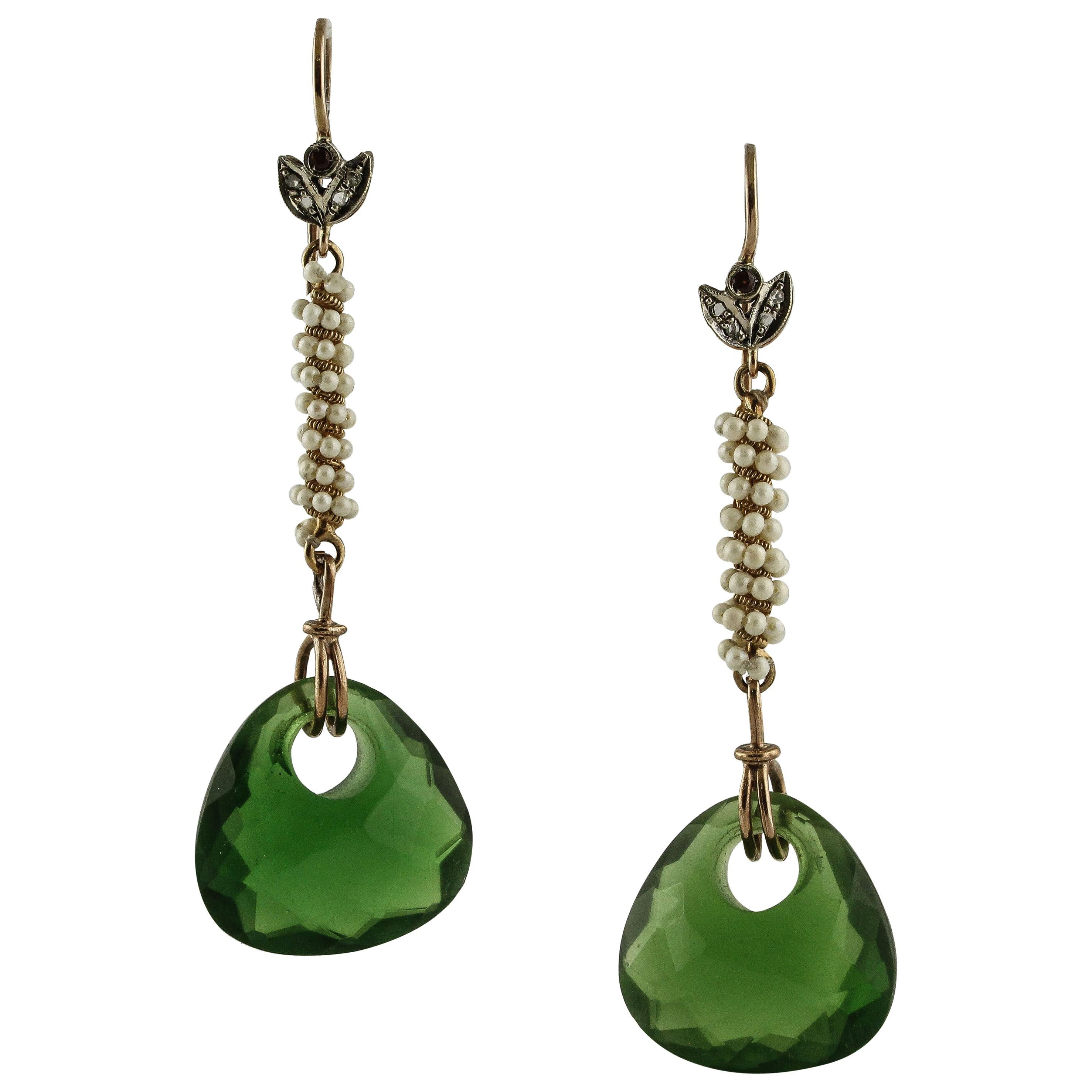 Diamonds Rubies Little Pearls Green Crystal Rose Gold and Silver Dangle Earrings