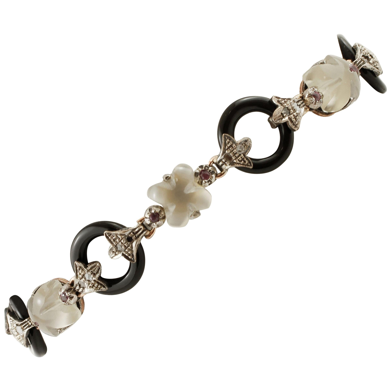 Diamonds, Rubies, Moonstones, Onyx, 9 Karat Gold and Silver Retrò Link Bracelet