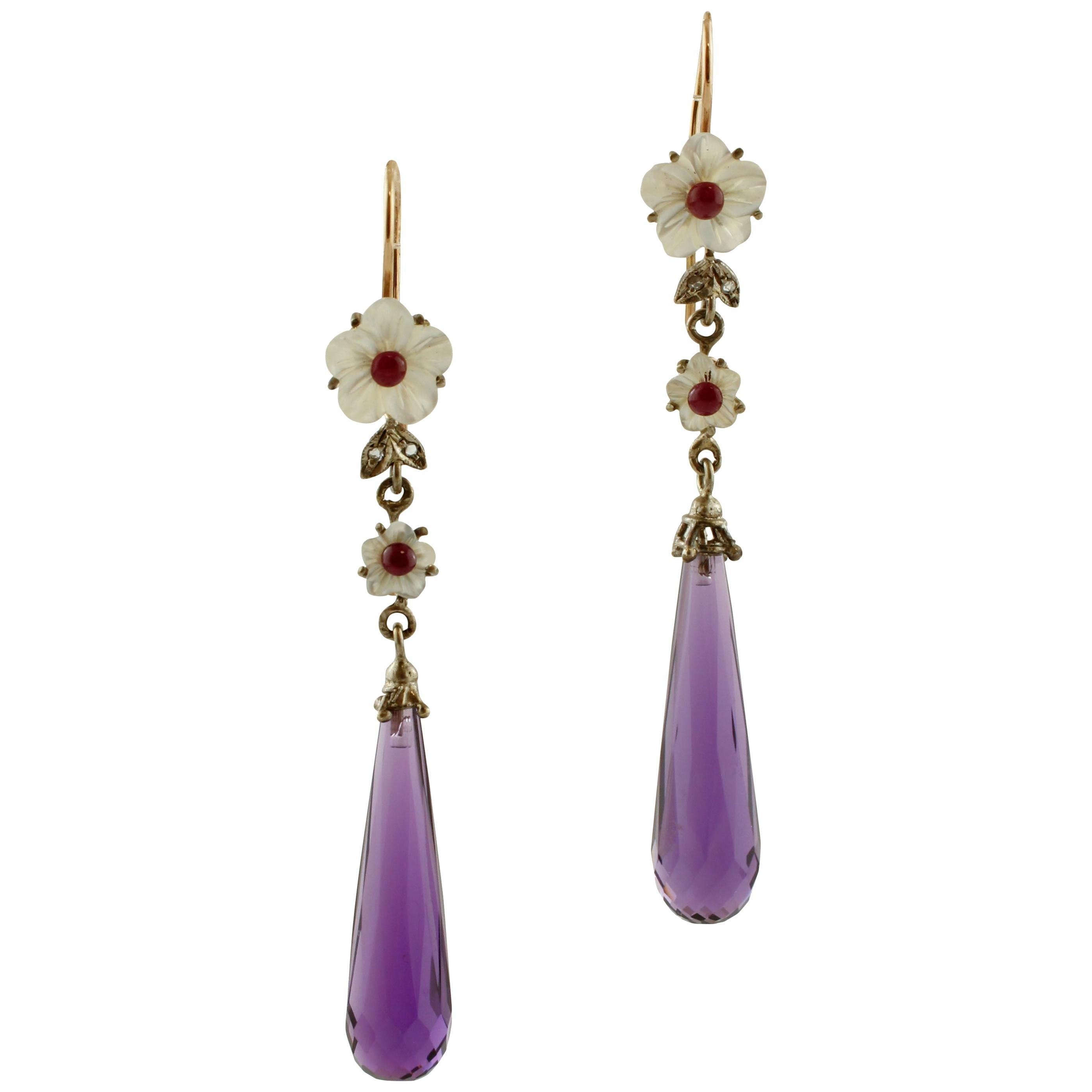 Diamonds Rubies Mother of Pearl Amethyst Rose Gold and Silver Earrings