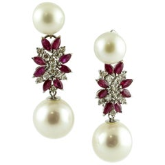 Diamonds, Rubies, Pearls, 14 Karat White Gold Dangle Earrings