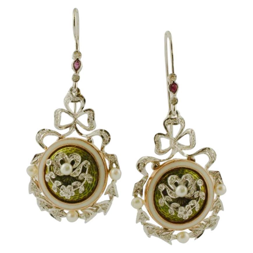 Diamonds, Rubies, Pearls, 14 Karat White Gold and Enamel Vintage Dangle Earrings