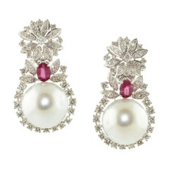 Diamonds, Rubies, Pearls, 18 Karat White Gold Fashion Earrings