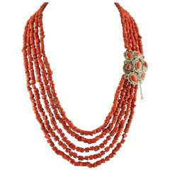 Diamonds, Rubies, Red Coral Rose Gold and Silver Clasp Multi-Strand Necklace