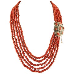 Diamonds, Rubies, Red Corals, Rose Gold and Silver Clasp Multi-Strand Necklace