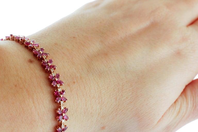 Diamonds, Rubies, Rose Gold Flower Shape Link Tennis Bracelet For Sale 1