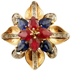 Diamonds, Rubies, Sapphires, 14 Karat Rose Gold Flower Ring