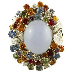 Diamonds, Rubies, Sapphires, Chalcedony, 14 Karat White Gold Cocktail Ring