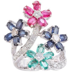 Diamonds Rubies Sapphires Emeralds White Gold Ring
